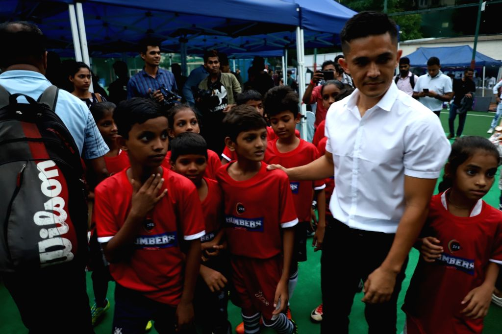 """Footballer Sunil Chhetri during a press conference regarding the upcoming web series """"Bombers"""" in Mumbai on June 14, 2019. He is excited about making a cameo in a web series ..."""