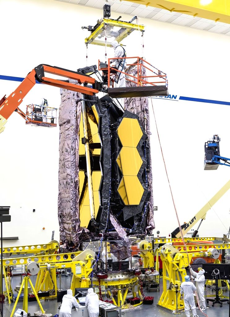 For the first time ever, testing teams at Northrop Grumman in Redondo Beach, California carefully lifted the fully assembled James Webb Space Telescope in order to prepare it for transport to nearby acoustic and sine-vibration testing facilities. (Ph