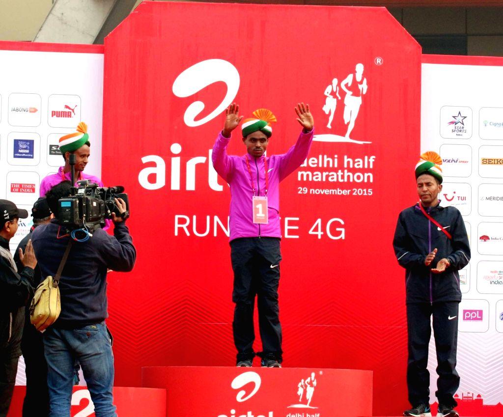 Foreign athletes participate in Airtel Delhi Half Marathon 2015 at India Gate in New Delhi, on Nov 29, 2015.