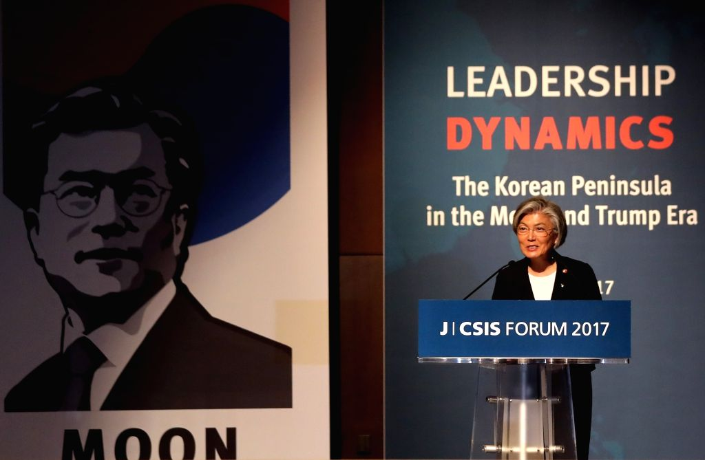 """Foreign Minister Kang Kyung-wha delivers a luncheon speech at a forum titled """"The Korean Peninsula in the Moon and Trump Era"""" at a Seoul hotel on June 26, 2017. The local daily JoongAng and ... - Kang Kyung"""