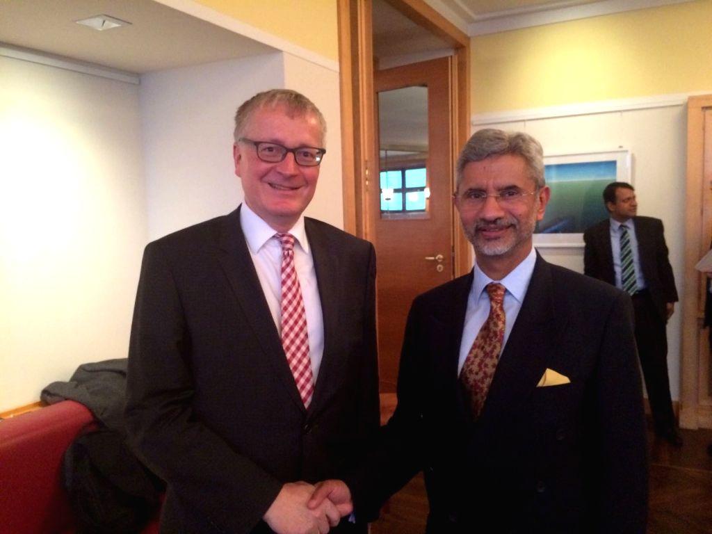 Foreign Secretary Dr. S Jaishankar meets German State Secretary Dr. Markus Ederer in Berlin on Nov 30, 2016.