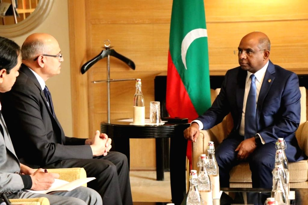 Foreign Secretary Vijay Gokhale calls on Maldives Foreign Affairs Minister Abdulla Shahid in New Delhi on Dec 11, 2019. - Abdulla Shahid