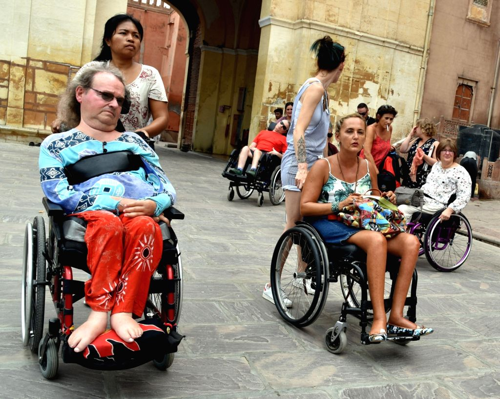 Foreign tourists during their visit to Junagarh Fort in Bikaner, Rajasthan on Sept 16, 2017.
