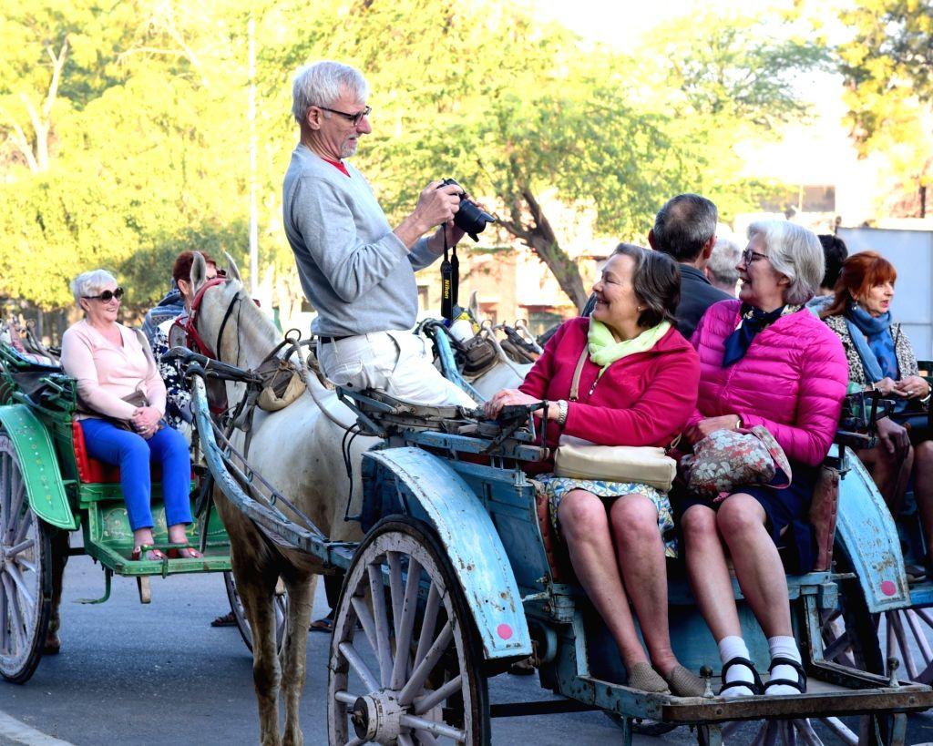 Foreign tourists enjoy Tonga ride in Bikaner on Feb 13, 2018.