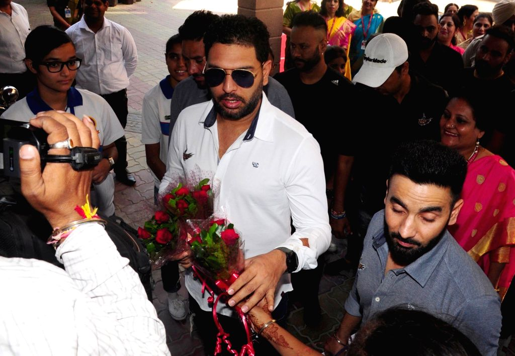 Foremr cricketer Yuvraj Singh during inauguration of his cricket academy at a school in Amritsar Oct 11, 2019. - Yuvraj Singh
