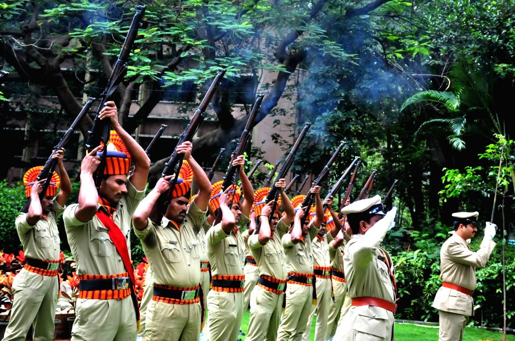 Forest officers pay gun salute to the martyrs to mark the National Forest Martyrs Day organized by Dept of Forests, in Bengaluru on Sept 11, 2016.