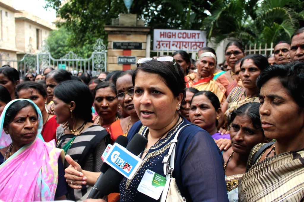 Former Aam Aadmi Party (AAP) member, activist and politician Anjali Damania visits Nagpur to submit a petition against a beedi dealers at High Court on July 18, 2016.