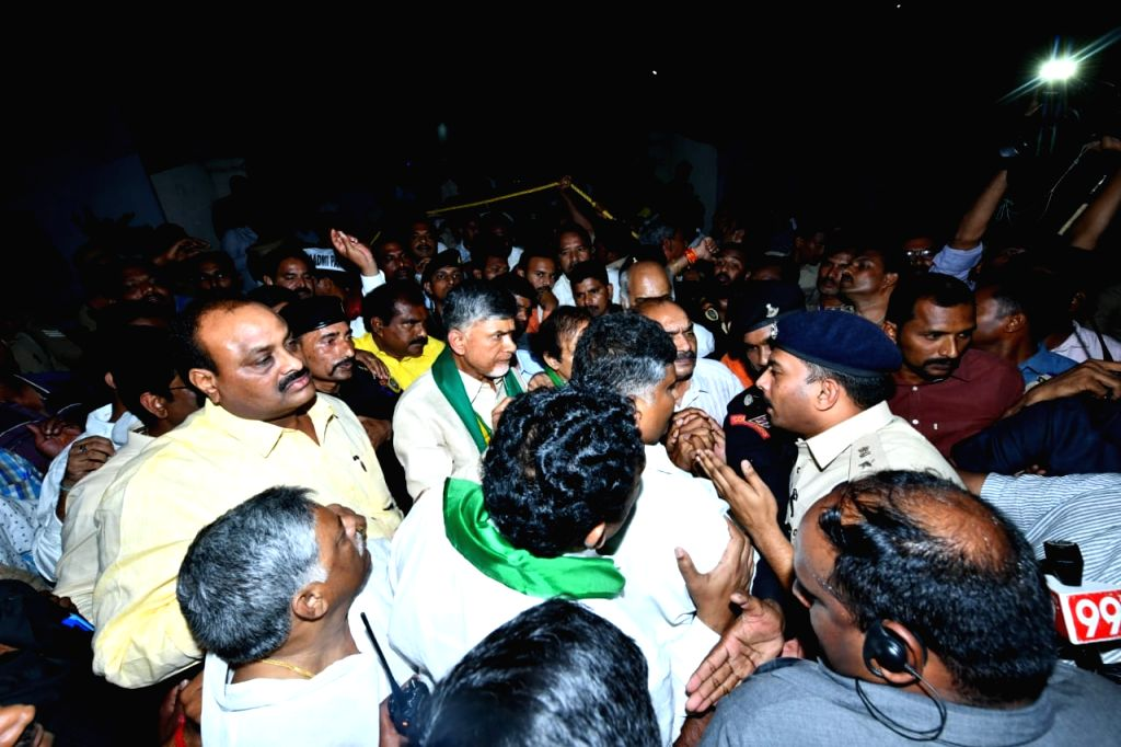 Former Andhra Pradesh Chief Minister and TDP President N. Chandrababu Naidu being taken away by the police ahead of his 'bus yatra' as part of the continuing protest by Amaravati farmers ... - N. Chandrababu Naidu