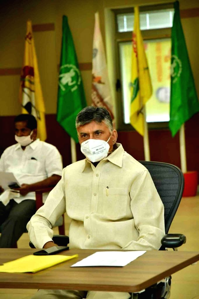Former Andhra Pradesh Chief Minister N. Chandrababu Naidu during a protest organised by the Telugu Desam Party (TDP) where he called up on people to continue 'save Amaravati, save Andhra ... - N. Chandrababu Naidu