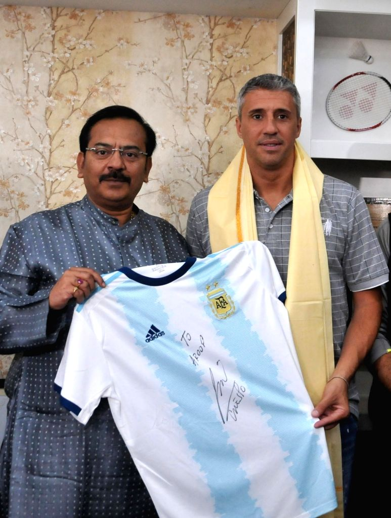 Former Argentinian footballer Hernan Jorge Crespo meet West Bengal Public Works and Youth Services and Sports Minister Aroop Biswas in Kolkata on Dec 13, 2019. - Aroop Biswas