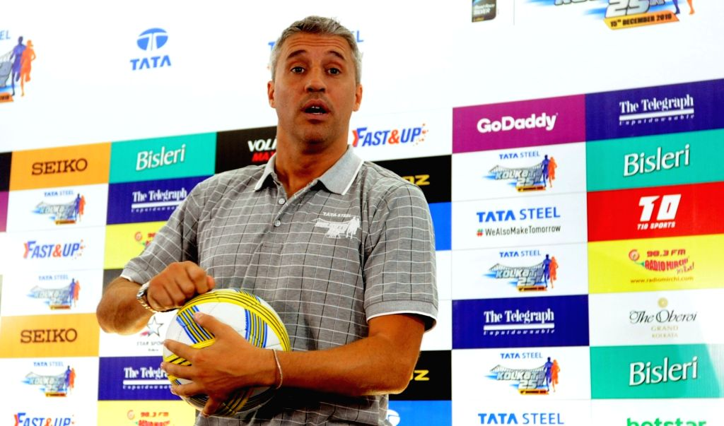 Former Argentinian footballer Hernan Jorge Crespo at a press conference ahead of Tata Steel Kolkata 25K run, on Dec 13, 2019.