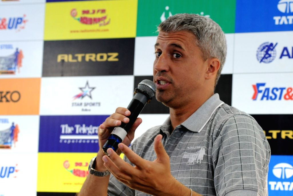 Former Argentinian footballer Hernan Jorge Crespo addresses a press conference ahead of Tata Steel Kolkata 25K run, on Dec 13, 2019.
