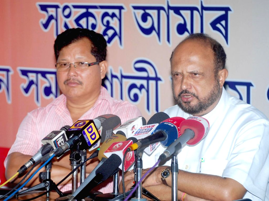 Former Assam Chief Minister and AGP President Prafulla Kumaar Mahanta addressing the media during a press conference regarding the Assam Accord at Party Head Office in Guwahati on Wednesday 14th ...