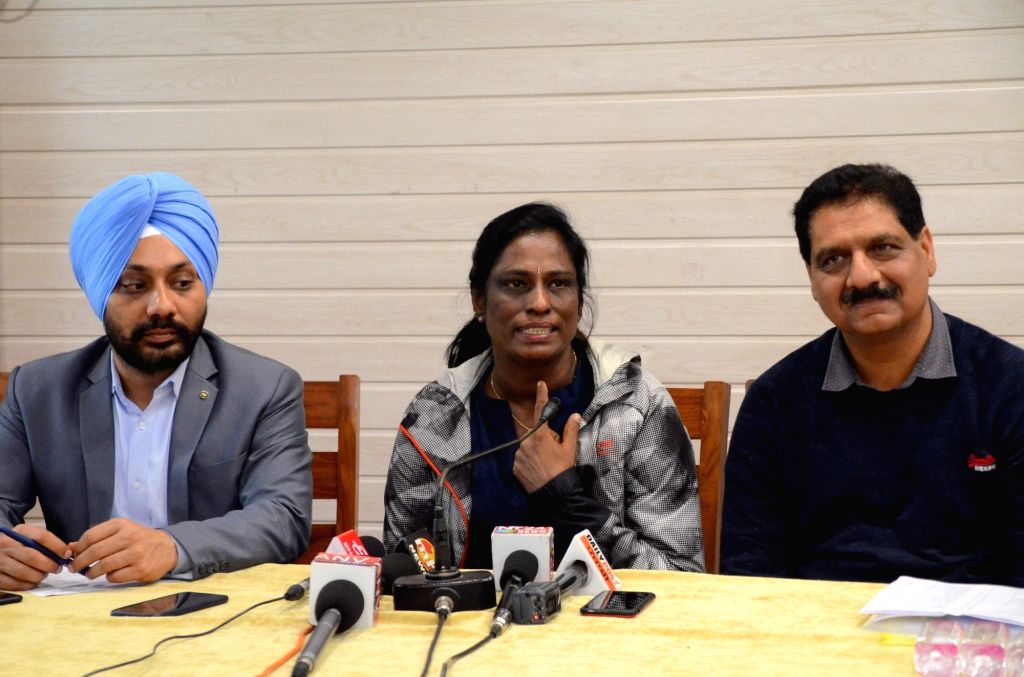 Former athlete PT Usha addresses a press conference, in Chandigarh, on March 5, 2019.
