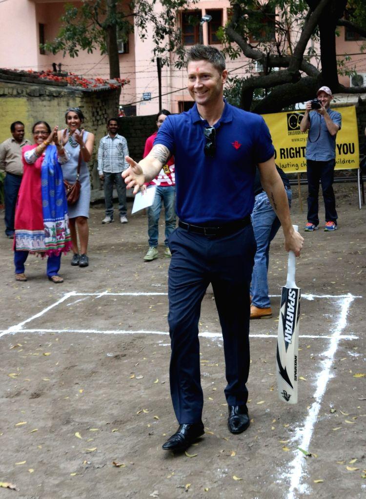Former Australia captain Michael Clarke attends a CRY programme for underprivileged children in New Delhi, on March 10, 2017. - Michael Clarke