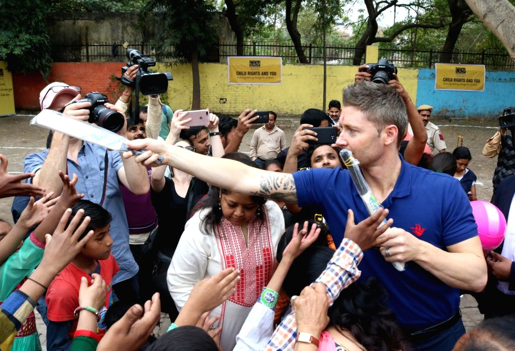 Former Australia captain Michael Clarke attends a programme for underprivileged children organised by CRY in New Delhi, on March 10, 2017. - Michael Clarke