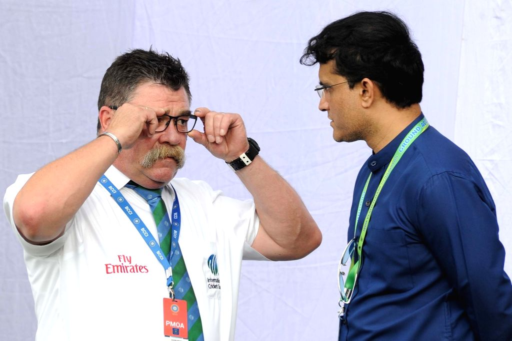 Former Australian batsman David Boon and CAB President Sourav Ganguly during Day 2 of the Second Test Match between India and New Zealand at Eden Gardens in Kolkata on Oct 1, 2016. - David Boon and Sourav Ganguly