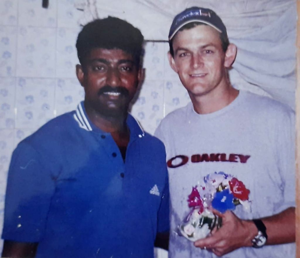 Former Australian cricket captain Adam Gilchrist along with  Anson Thomas during their visit to Kamatipura, redlight area. - Adam Gilchrist