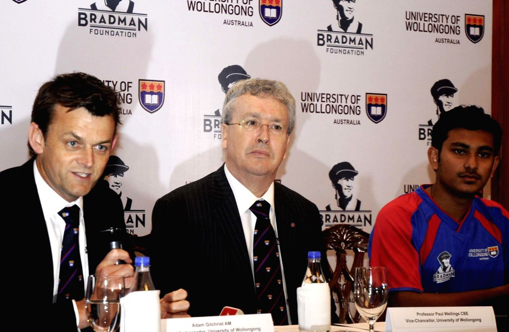 Former Australian cricketer and brand ambassador of University of Wollongong Adam Gilchrist with Vice Chancellor of the university Prof. Paul Wellings during a press conference regarding University ..