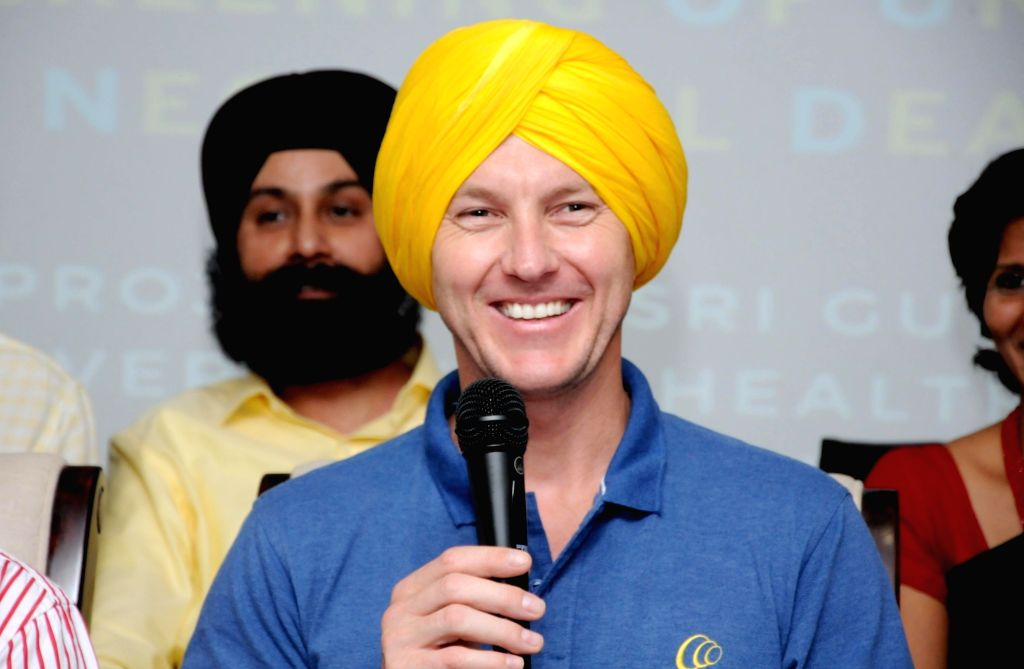 Former Australian cricketer and Cochlear's first Global Hearing Ambassador Brett Lee during the launch of Screening Of Universal Neonatal Deafness (SOUND) at Guru Ram Das University in ...