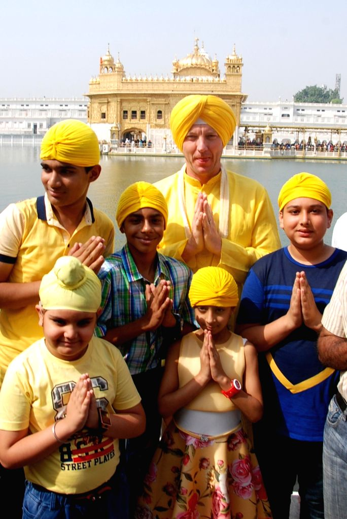Former Australian cricketer Brett Lee during his visit to the Golden Temple in Amritsar on May 29, 2018.