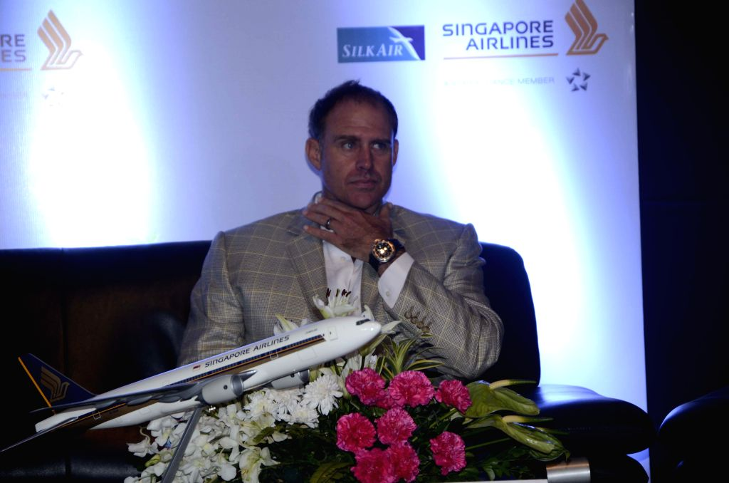 Former Australian cricketer Matthew Hayden launch the ``Go beyond with Singapore Airlines`` campaign along with Tourism and Events Queensland with G M Toh, General Manager India, Singapore Airlines and Ryna Sequeria, Marketing Manager India, Tourism