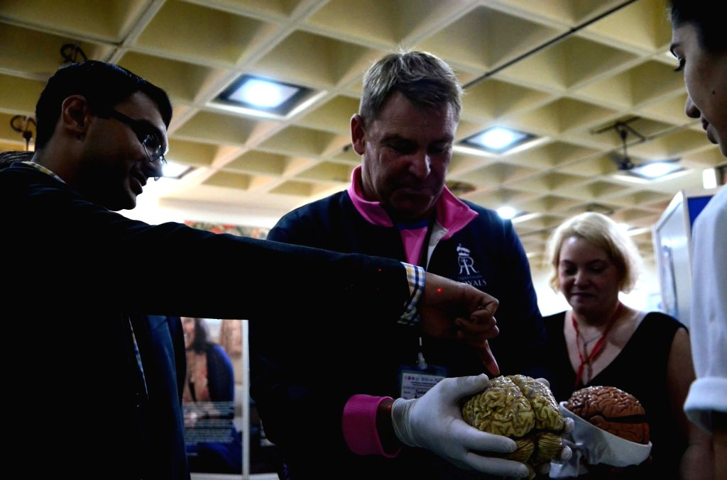 "Former Australian cricketer Shane Warne during an exhibition titled ""Exploring Brain and Mental Health"" at Nehru Science Centre (NCSM) in Mumbai on Feb 11, 2019."