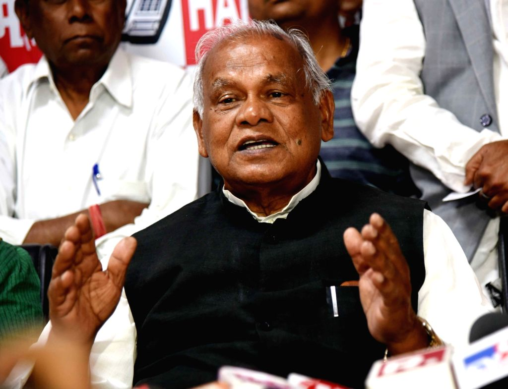 Former Bihar Chief Minister and HAM-S chief Jitan Ram Manjhi addresses a press conference in Patna on March 18, 2020.