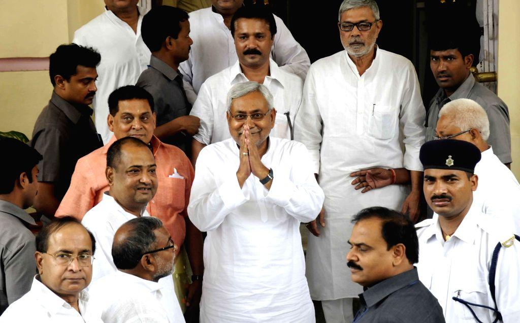 Former Bihar Chief Minister and JD-U leader Nitish Kumar arrives to attend the Monsoon Session of Bihar Legislative Council in Patna on June 30, 2014. - Nitish Kumar