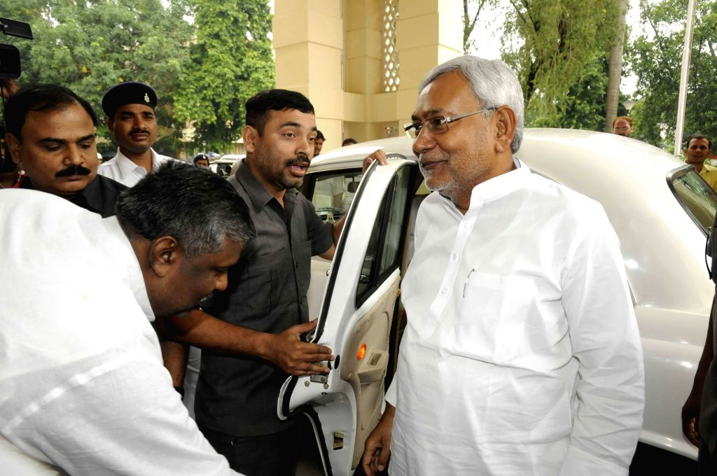 Former Bihar Chief Minister and JD-U leader Nitish Kumar arrives to attend the Monsoon Session of Bihar Legislative Council in Patna on July 24, 2014.