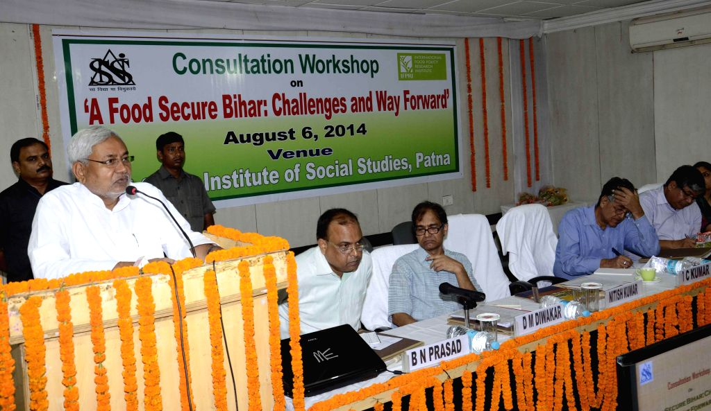 Former Bihar Chief Minister and JD-U leader Nitish Kumar addresses during a consultation workshop on `A Food Secure Bihar: Challenges and Way Forward` at Institute of Social Studies in Patna on Aug .. - Nitish Kumar