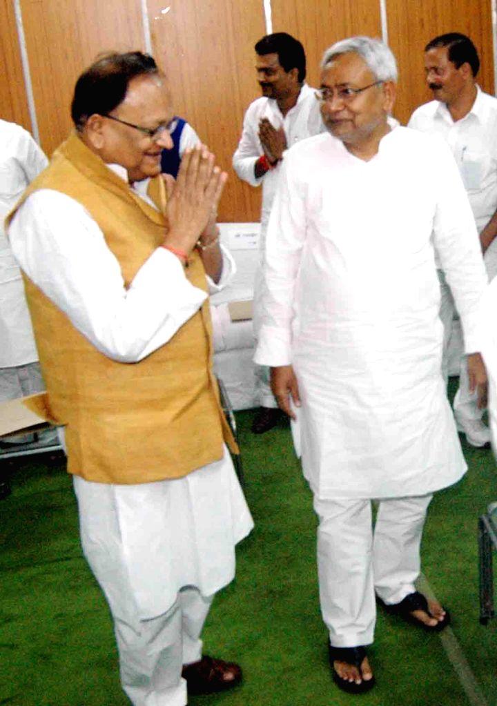 Former Bihar Chief Minister and JD (U) leader Nitish Kumar during swearing-in ceremony of newly elected legislators in Patna on Sept 4, 2014. - Nitish Kumar