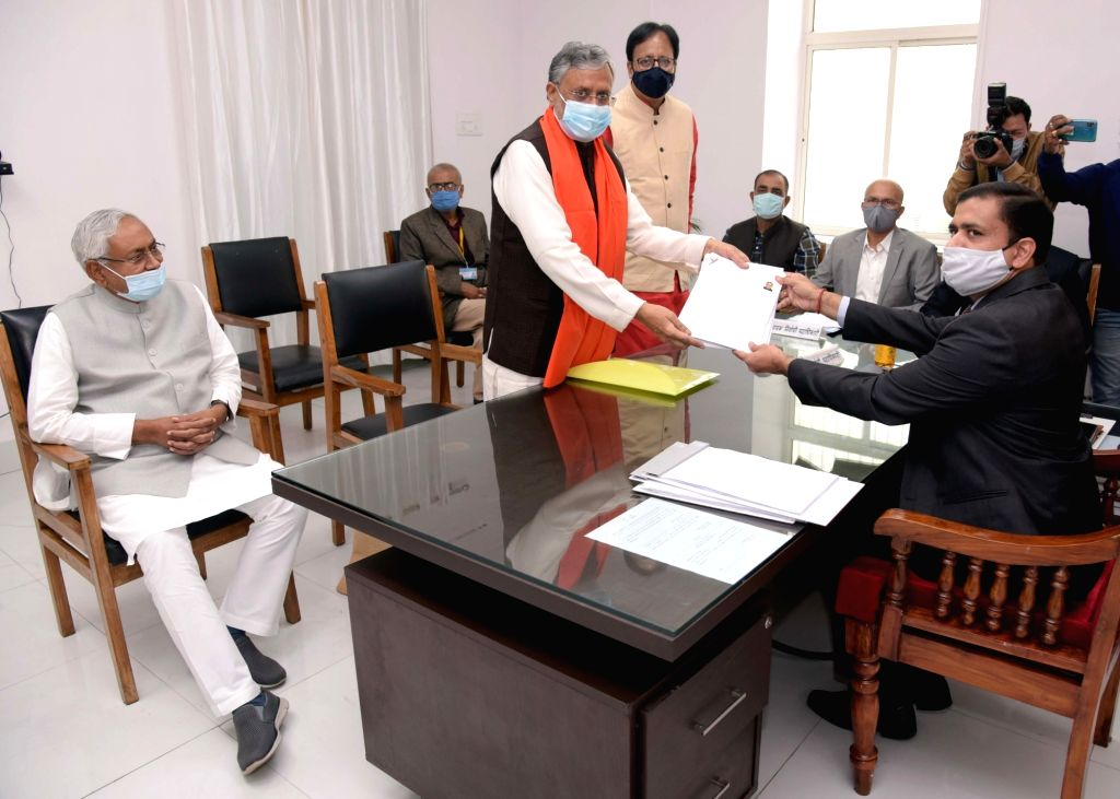 Former Bihar Deputy Chief Minister Sushil Kumar Modi accompanied by Bihar Chief Minister Nitish Kumar and Bihar BJP President Sanjay Jaiswal, filed his nomination as a NDA candidate for the ... - Sushil Kumar Modi and Nitish Kumar