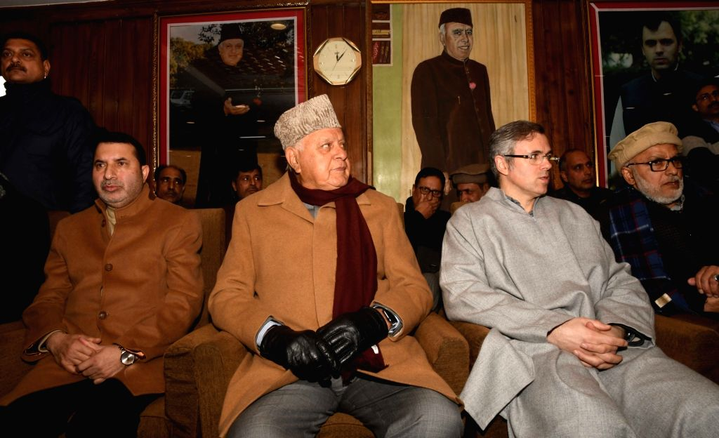 Former bureaucrat Farooq Ahamad Shah who joined National Conference in presence of National Conference President Farooq Abdullah and Omar Abdullah in Srinagar, on Feb 25, 2019. - Farooq Ahamad Shah