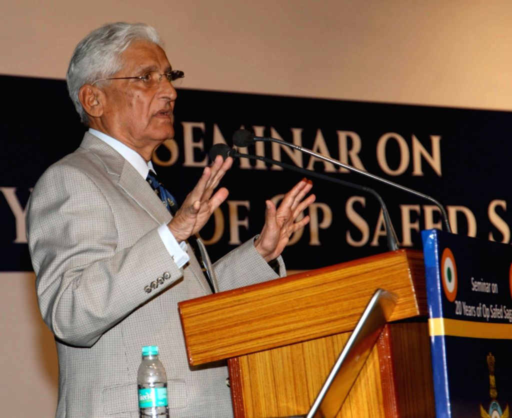 Former chief of air staff Air Chief Marshal AY Tipnis addresses during a a seminar organised to mark the 20th anniversary of Operation Safed Sagar, in New Delhi on July 16, 2019.