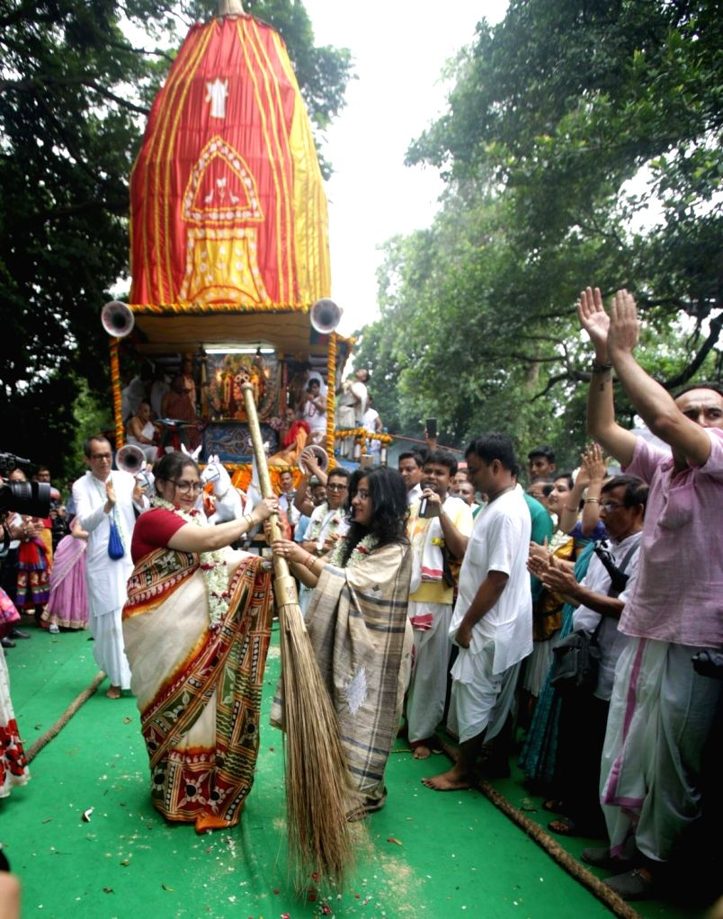 Former cricketer and Cricket Association of Bengal (CAB) president Sourav Ganguly's wife Dona Roy during 'Ulta Rath Yatra'- the return of the chariots of Lord Jagannath and his two siblings ... - Roy