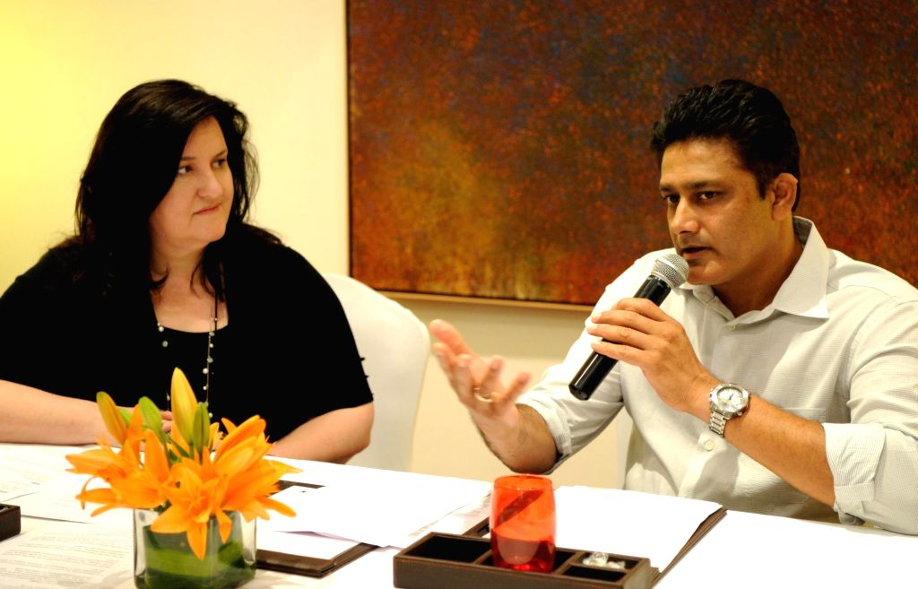 """Former cricketer Anil Kumble addresses during """"Understanding """"Hybrid as a Mindset: The Indian Context"""" a programme organised by Impris-Research and Advocacy in Bengaluru on ..."""