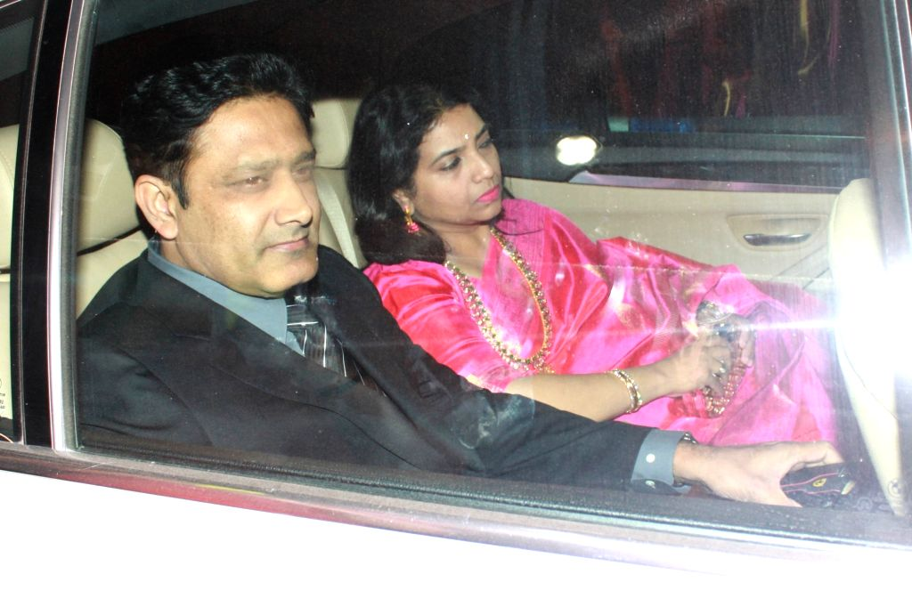 Former cricketer Anil Kumble arrives to attend the wedding reception of cricketer Harbhajan Singh and actress Geeta Basra in New Delhi, on Nov 1, 2015.