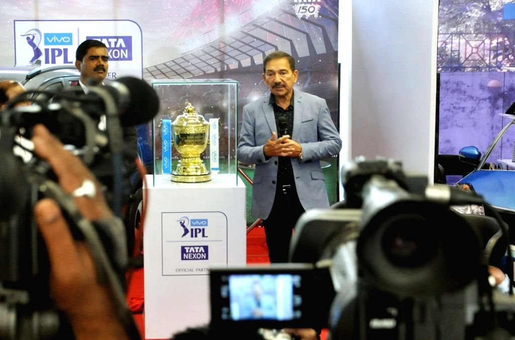 Former cricketer Arun Lal unveils the IPL 2018 Trophy, in Kolkata on April 5, 2018.