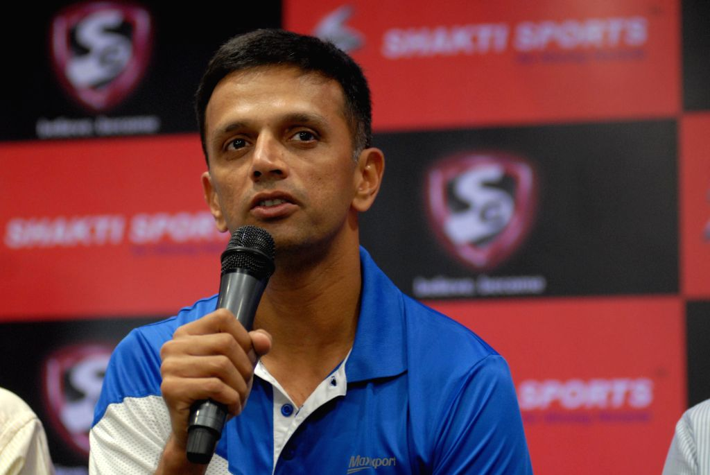 Former cricketer Rahul Dravid addresses during inauguration of a Shakti Sports Branch in Pune on June 18, 2014. - Rahul Dravid