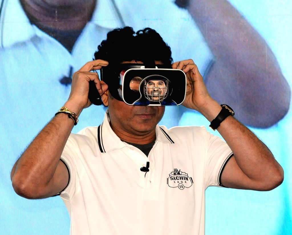 Former cricketer Sachin Tendulkar at the launch of India's first multiplayer virtual reality cricket game 'Sachin Saga VR' in New Delhi on Feb 4, 2019. - Sachin Tendulkar