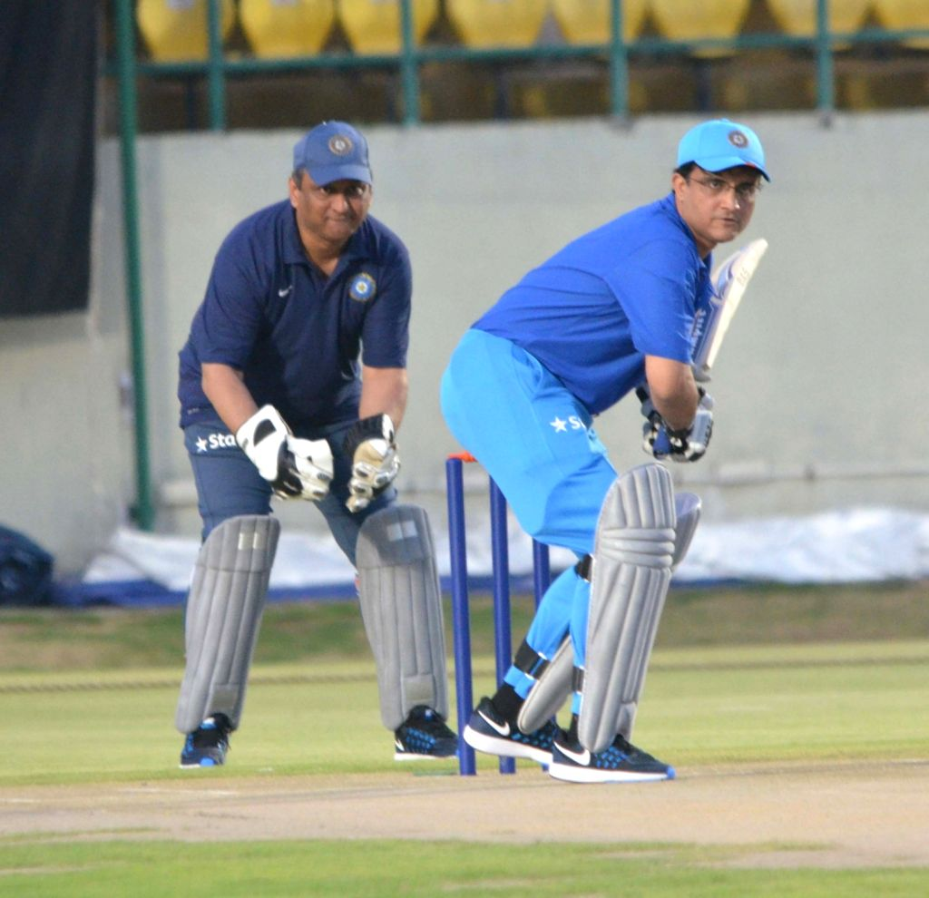 Former cricketer Sourav Ganguly in action during a friendly match between BCCI and HPCA officials at HPCA Stadium in Dharamsala, on June 23, 2016. - Sourav Ganguly