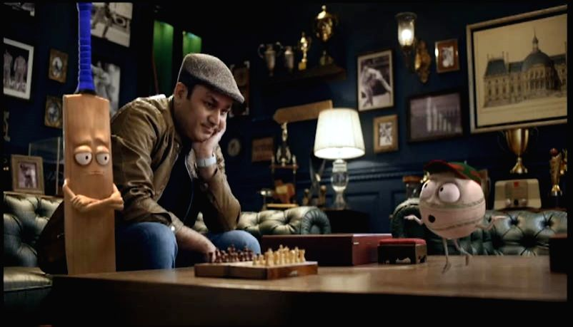 Former cricketer Virender Sehwag in a still from Star Sports campaign to promote the India Vs Bangladesh contest. The campaign depicts Sehwag taking on an animated avatar of a Bangladeshi ...