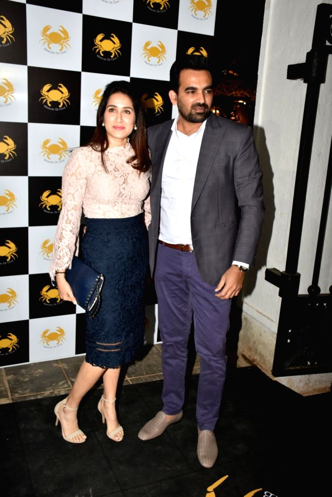 Former cricketer Zaheer Khan and his wife actress Sagarika Ghatge at a Mumbai seafood restaurant on Feb 9, 2019. - Sagarika Ghatge and Zaheer Khan