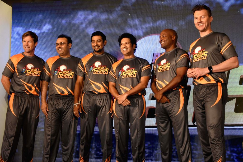 Former cricketers Jonty Rhodes, Virendra Sehwag, Tillakaratne Dilshan, Sachin Tendulkar, Brian Lara and Brett Lee at the launch of 'Road Safety World Series' in Mumbai on Oct 17, 2019. - Sachin Tendulkar