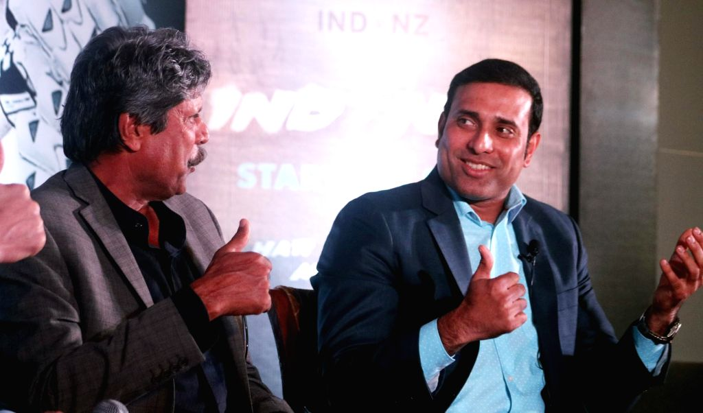 Former cricketers Kapil Dev and V. V. S. Laxman during a panel discussion regarding upcoming India vs New Zealand Test Series in New Delhi, on Sept 19, 2016. - Kapil Dev