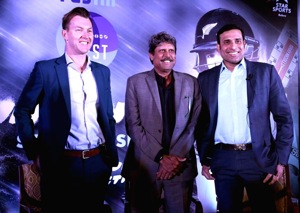 Former cricketers Kapil Dev,  V. V. S. Laxman, and Brett Lee during a panel discussion regarding upcoming India vs New Zealand Test Series in New Delhi, on Sept 19, 2016. - Kapil Dev