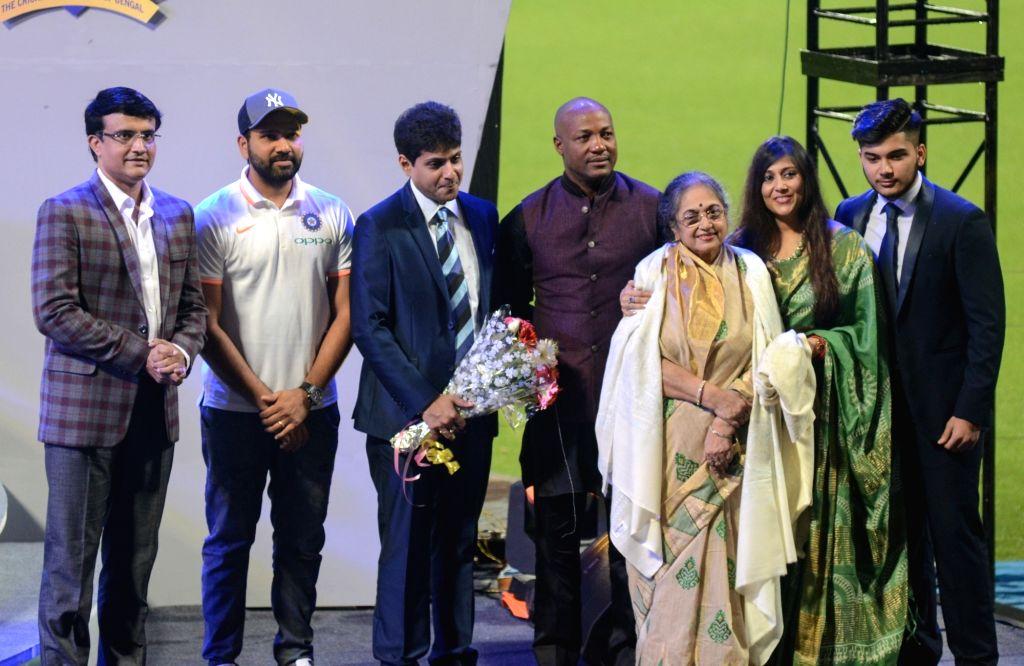 Former cricketers Sourav Ganguly and Brian Lara with Rohit Sharma and Cricket Association of Bengal Honorary Secretary Abhishek Dalmiya during Jagmohan Dalmiya Annual Conclave in Kolkata on ... - Sourav Ganguly and Rohit Sharma