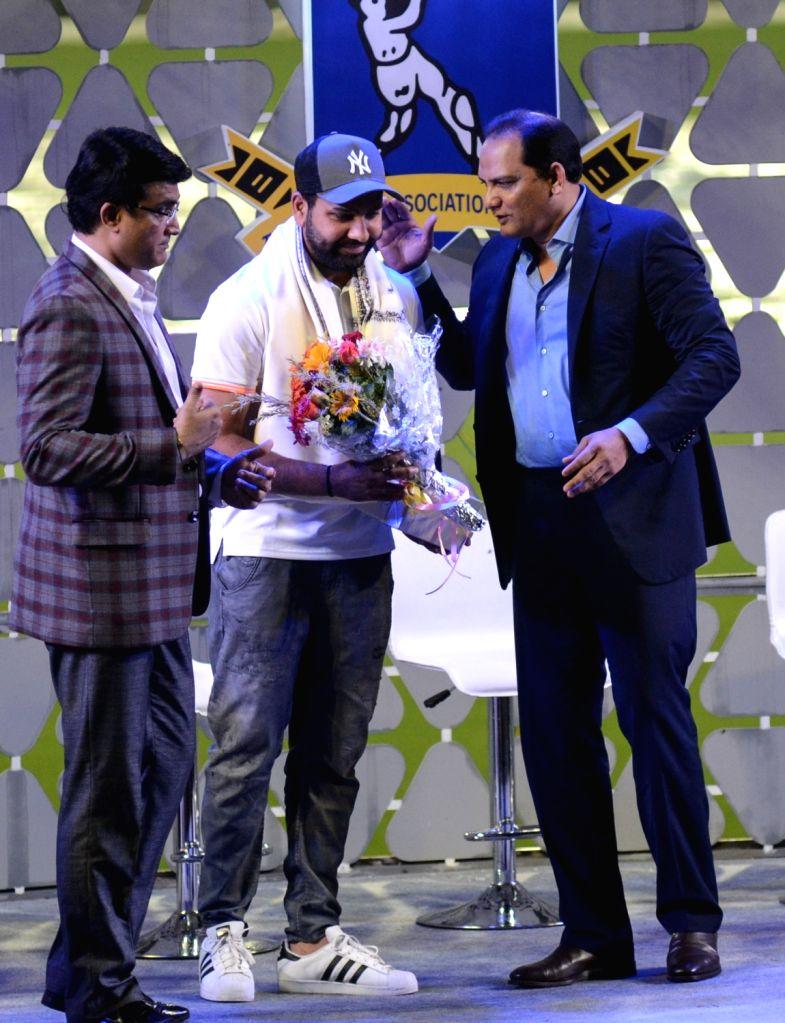 Former cricketers Sourav Ganguly and Mohammad Azharuddin with Rohit Sharma during Jagmohan Dalmiya Annual Conclave in Kolkata on Nov 2, 2018. - Sourav Ganguly, Azharuddin and Rohit Sharma