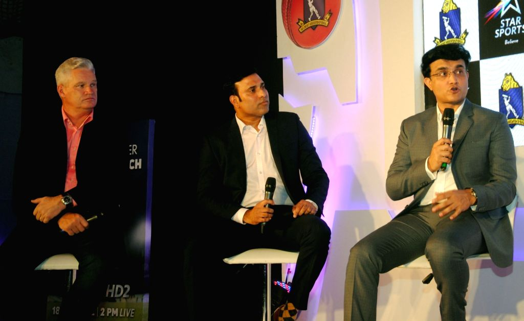 Former cricketers Sourav Ganguly, V. V. S. Laxman, and Dean Jones during a panel discussion in Kolkata, on June 16, 2016. - Sourav Ganguly